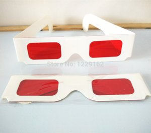 lens 3 Free shipping (50pcs lot) Re-useable white paper 3 glasses Paper Frame Red Red lens 3d decoder glasses