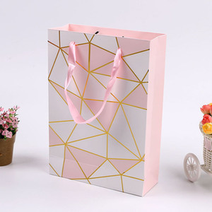Wholesale Pink Color Paper Gift Bag with Handle Valentine s Day Wedding Birthday Party Packing Bags