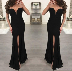 arabic party wear mermaid black prom dresses long evening gowns Robe De Soiree V-Neck High Split on Sale
