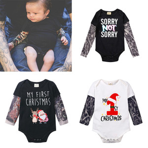 Wholesale 9 Style Fashion Infant Baby Boys girls INS Tattoo sleeve Romper Children New Christmas Long Sleeve Tattoo Print Romper kids clothes B1