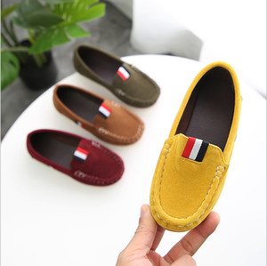 2019 children's peas shoes Korean girls shoes suede soft bottom baby princess boy one foot single shoes small leather on Sale
