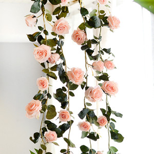 Wholesale Artificial Rose Flower Ivy Vine Real Touch Silk Flowers String With Leaves for Home Hanging Garland Party Craft Art Wedding Decor cm