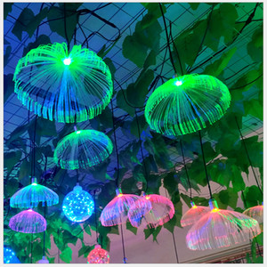 Wholesale wedding decor places resale online - Outdoor LED Jellyfish Fiber Optic Colorful Light Hanging Lights Living Room Restaurant Home Decor Wedding Party Waterproof IP66