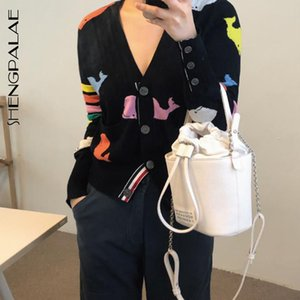 Wholesale SHENGPALAE Print Single Breasted V neck Pockets Full Sleeve Open Stitvh Women Coat New Spring Autumn Korea Style FS509