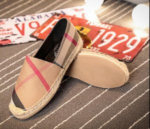 Wholesale womens espadrilles casual fisherman shoe checks grids stripped canvas slip on snickers skate ballet flats loafers DH2H1
