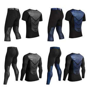 Wholesale Men Workout Shirts Pants Mma T-shirt Mens Compression Sets Running Shirts Fitness Bodybuilding Leggings Mma Rashguard Tracksuits SH190829