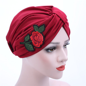 Wholesale new Indian Women Stretchable Cotton Turban Hat applique rose flower embroidery Headband Wrap Chemo Bandana Hijab Pleated Indian Cap