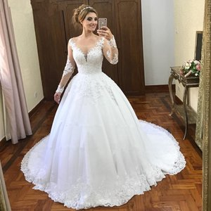 Backless See Through Scoop Long Sleeve Crystal Beaded Princess Lace White Custom Ball Gown Wedding Dress New Tulle Applique Bridal Vestido