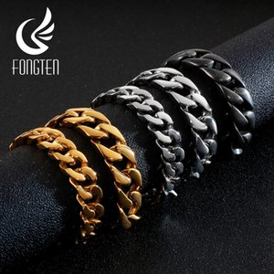 Wholesale Fongten Vintage Cuban Retro Black Gold Link Chain Stainless Steel Wide Hip Pop Bracelet For Men Fashion Jewelry