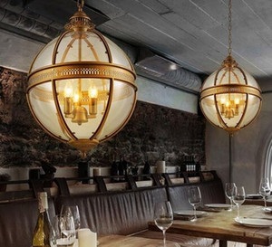Wholesale dinning table round for sale - Group buy Vintage Loft Globe Pendant Lights Wrought Iron Glass Shade Round Lamp Kitchen Dinning Bar Table Luminaire Fixture Hanging Lamps MYY