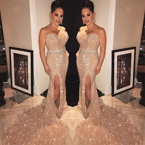 Bling Bling Sequined Prom Dresses Long 2019 Mermaid Strapless Split Formal Evening Gowns Sparkly Sequin Cocktail Party Ball Sweet 16 Dress on Sale