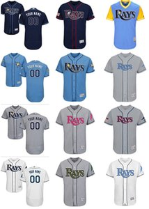 custom Men's women youth Majestic Tampa Bay Jersey #00 Your name and your number Nary Blue Grey White Kids Girls Rays Jerseys on Sale