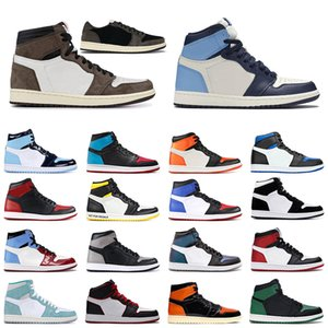 travis scott 1 jumpman 1s men women basketball shoes obsidian UNC Black Toe Shattered Backboard mens Outdoor trainers sports sneakers