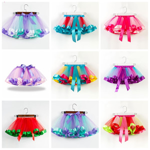 Wholesale 19 colors baby girls tutus rainbow color girl tutu skirts with bow kids mesh cake layer performa dresses fit 2-11 years