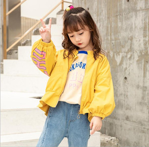 Street Chaozhong Girl's Letter Lace-up, Long-sleeved, Short-style Children's Jacket, Long-sleeved Cotton Korean Girl's Children's Jacket 002 on Sale