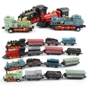 Diecast 1:60 Alloy Toy Car Vehicles Retro Steam Train Carrinho De Brinquedo Pull Back Model Train kids Toys Set For Boys Gifts