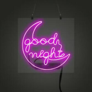 "Pink GOOD NIGHT MOON Neon Sign Handmade Real Glass Tuble Bar KTV Store Motel Home Decoration Display Neon Signs With WhiteBacking 16""x16"""