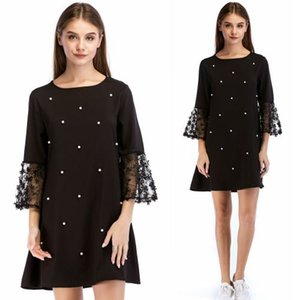 AOTEMAN Elegant Summer Autumn Women Dress New Fashion Vintage Half Sleeve Sexy Loose Pearl Dresses Lace Beach Party Black Dress
