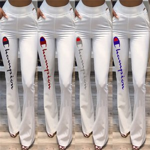 Women Champions Flare Pants Elastic High Waist Bell-bottom Trousers Wide Leg Long Slim Bell Bottom Pants Casual Sports Flared Pant 2019 C441