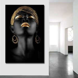 Wholesale Black woman africa art canvas painting custom poster prints modern home decoration wall pictures dropshipping cheap canvas print
