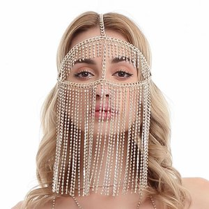 Wholesale Harness Face Veil Chain Body Jewelry Multi Layer Tassel Head Chain Headdress Jewelry Forehead Headband Face Mask Body Jewelry