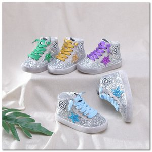 Fashion Kids sequins sneakers boys star embroidered casual shoes children lace-up non-slip running shoes 2020 spring kids shoes J2265