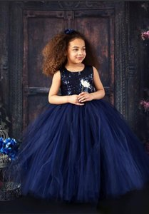 Wholesale 2019 New Design Navy Blue sequins Top Girls Pageant Dresses Ball Gown Tulle Butterflies Kids Evening Prom Party Gowns