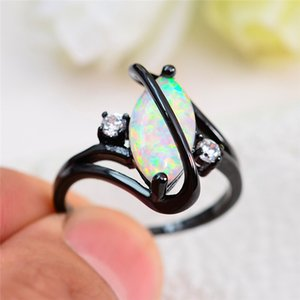 Wholesale Unique Style Male Female White Fire Opal Ring Black Gold Filled Engagement Ring Vintage Cross Wedding Rings For Women