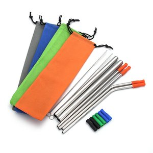 Wholesale Reusable Drinking Straws Set Stainless Steel Metal Straws with Cleaning Brush and Bag Straight Bent Juice Bubble Tea Straws