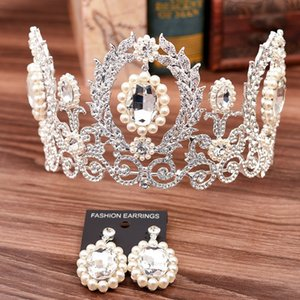 Wholesale Vintage Bridal Jewelry Set Crystal Pearl Crown Earrings Baroque Wedding Tiaras Bridal Earrings Retro Crowns Silver Gold Green Royal Blue Red