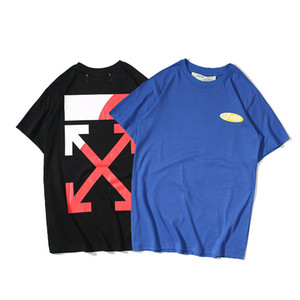 3371831f off white High-quality cotton short-sleeved simple printed T-shirt with  the same style for men and women in summer 2019