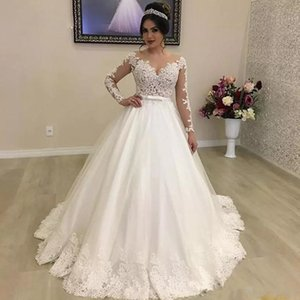 Wholesale White Ivory Ball Gown Garden Wedding Dresses Bridal Gowns Jewel Neck Illusion Long Sleeve Bow Tie Belt Wedding Gown