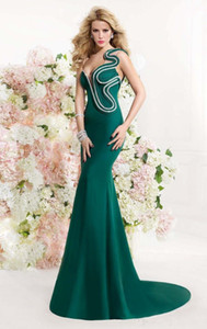2019 New Designer Dark Green Evening Dress One-shoulder Ruffle Backless Sweep Train Mermaid Evening Gowns Vestidos de novia 2018 on Sale