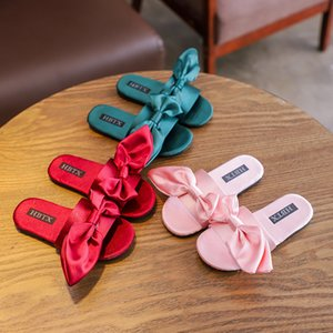Wholesale Girl Boys Summer Silk Bow Child Non-slip Soft Bottom Fashion One Word Slipper Kids Flip Flops Sandals Toddler Girls Shoes Bedroom