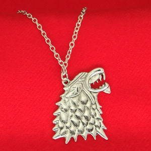 Wholesale A Song of Ice and Fire Game of Thrones Winterfell Stark Wolf pendant necklace Women men Fashion jewelry