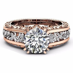 2018 Sale New Fashion Hollow Plant Zircon Rose Gold Engagement Ring for Female Two-tone Flower Rhinestone Wedding Rings for Women Jewelry on Sale