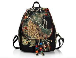 Wholesale 2019 bag Yunnan ethnic style embroidery new women's bag peacock embroidery bag canvas women's backpack generation