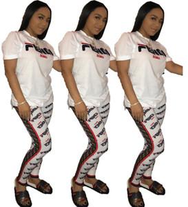 Women Tracksuit F Letter Print Short Sleeve Top + Pants 2pcs Sets Nightclub Fashion Ladies Two Piece Outfits Jogging Suits 8227