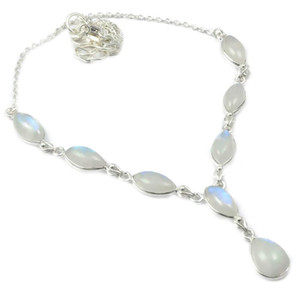 Nature Rainbow Moonstone Necklace 925 Sterling Silver, 48.5 cm, 2SN0056