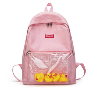 Wholesale newTransparent small yellow duck backpack Korean version Harajuku girl high school student bag female tide backpack