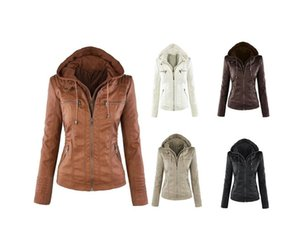 5 Colors Women's PU Leather Jacket Hooded Lapel Zipper Pockets Removable Jackets Coat Plus Size Womens coat S-7XL CL033