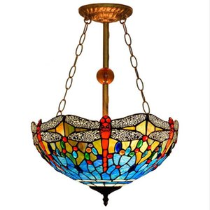 Wholesale stained glass chain resale online - Tiffany Stained Glass Pendant Light Living Room Dining Room Bedroom Chain Chandelier Blue Dragonfly Chandelier American European Style