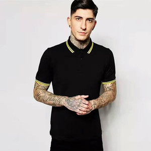 UK Fashion Summer Men London Solid Polo Shirt Leaf Embroidery Yellow Striped Collar England Fashion Casual Polos Cotton Classic T-Shirts