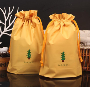 Wholesale fabic resale online - Green Christmas Tree Drawstring Gift Bag Sack Soft EVA Fabic Presents Favors Wrap Bags Holiday XMAS Decoration yellow