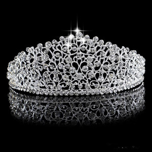 ingrosso grandi corone per il matrimonio-Sparkling Silver Big Wedding Diamante Pageant Tiaras Hairband Crystal Corone Nuziali Per Spose Prom Pageant Capelli Gioielli Copricapo