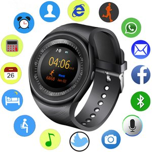 Wholesale Y1 Bluetooth Smart Watch Wristband Bracelet with SIM Card Slot for android cellphones IPS Round Water Resistant with Retail Package