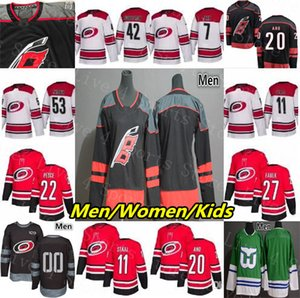 2019 Carolina Hurricanes Jersey Sebastian Aho Staal Petr Mrazek Justin Faulk Andrei Svechnikov de Haan Justin Williams Teravainen Men Women on Sale