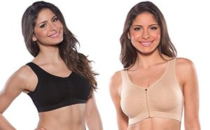 Padded Women's Front Zip Post Surgery- Seamless Bra - Sporters - Comfort Bra with Wide Back Support