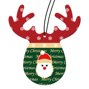 Wholesale Merry Christmas Antlers Shape Car Perfume Papers Hanging Pendant Air Freshener Rear View Mirror Ornament Car Interior Decoration