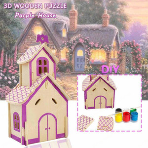 Wholesale 3D Wooden House Puzzles Toys for Children to DIY Hand Assembled Building Model Kits Educational Hobbies Gift Home Decoration